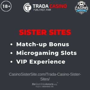 """Featured image for the Trada Casino sister sites article showing the brand's logo and the text: """"100% welcome bonus. No deposit sign-up bonus. Loyalty Program."""""""