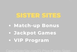 """Featured image for the 21 Prive Casino sister sites review article showing the brand's logo and the text: """"Match-up Bonus. Jackpot Games. VIP Program."""""""
