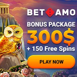 Banner image for BetAmo sister sites review article showing bonus package of $300 + 150 free spins