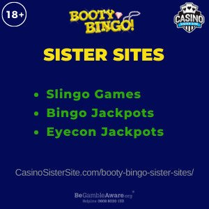 Banner image for the Booty Bingo sister sites article showing the brand's logo and the text: Slingo Games. Bingo Jackpots. Eyecon Jackpots