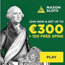 Banner image for Mason Slots sister sites article review showing welcome bonus of €300 + 100 free spins