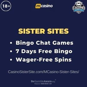 "Featured image for the MCasino sister sites review showing the brand's logo and the text: ""Bingo chat games. 7 Days free bingo. Wager free spins."""