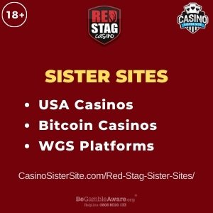 "Featured image for the Red Stag Casino sister sites review showing the brand's logo and the text: ""Sister sites. USA Casinos. Bitcoin casinos. WGS Platforms."""