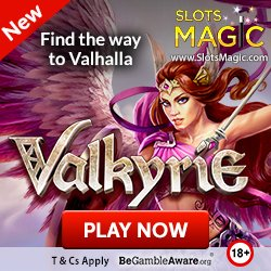 "Banner image for Slots Magic sister sites review article showing: ""Find the way to Valhalla"