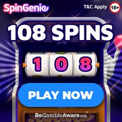 Banner image for Spin Genie sister sites review article showing: Play now to get 108 Free spins.