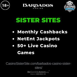 "Featured image for the Barbados Casino sister sites review article showing the brand's logo and the text: ""Monthly Cashbacks. NetEnt Jackpots. 50+ Live Casino Games."""