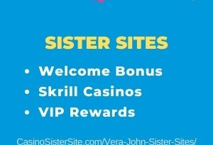 """Banner image for the Vera John sister sites review showing the brand's logo and the text: """"Vera and John sister sites - Welcome bonus. Skrill casinos. VIP Rewards."""""""