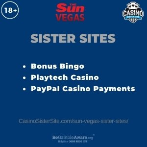Feature image for the Sun Vegas sister sites article showing the brand's logo and the text: Bonus Bingo. Playtech Casino. PayPal Casino Payments.