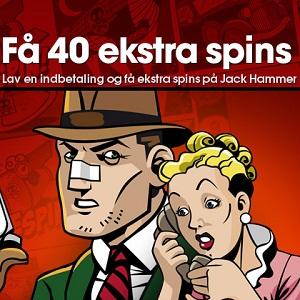 Få 40 gratis ekstra spins til Jack Hammer