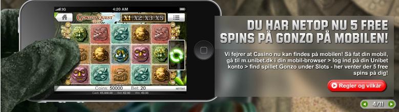 Du har netop nu free spins på Gonzo på Unibet Mobilcasino!