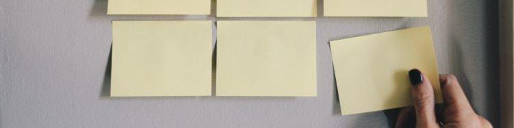 A group of blank sticky notes