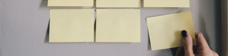 A group of blank sticky notes