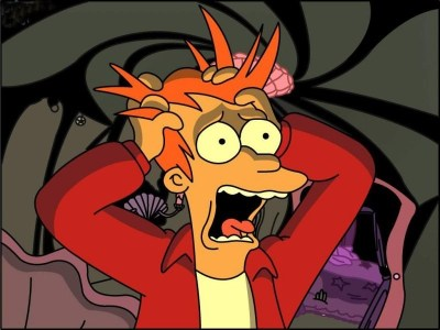Meme of Fry from Futurama looking panicked