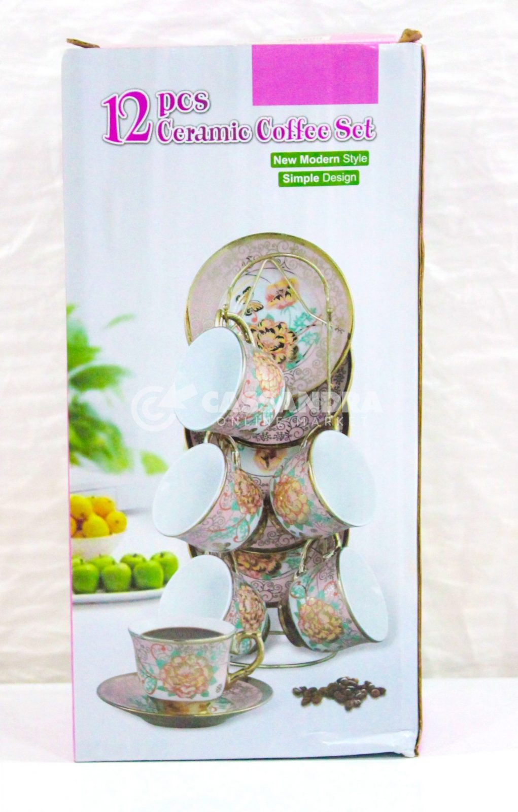 12 pcs ceramic coffee set new modern style simple design