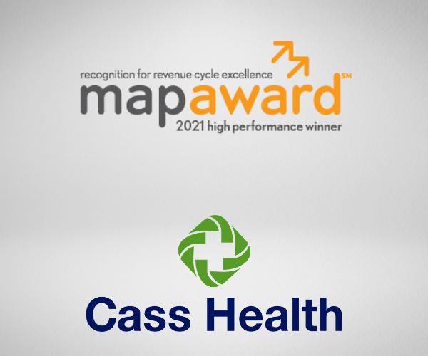 MAP award logo and Cass Health logo