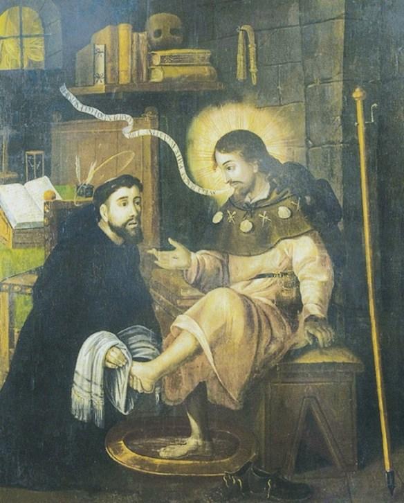 Agostino lava i piedi al Cristo pellegrino