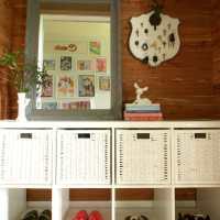 DIY Cedar Planked Mudroom in a Closet