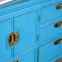 Beachy Blue Global Inspired Vintage Dresser with Greek Key Hardwa