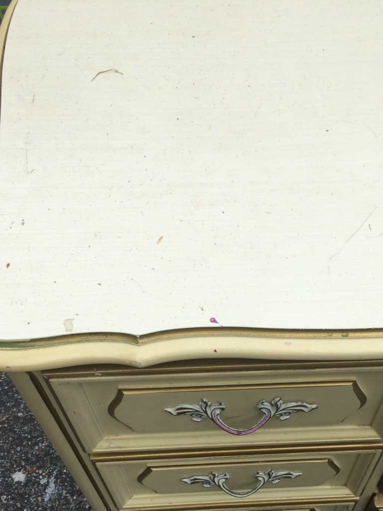 Speckled laminate top dresser- how to paint over this!