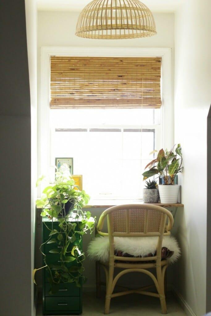 Custom Bamboo Blinds in Dormer Nook