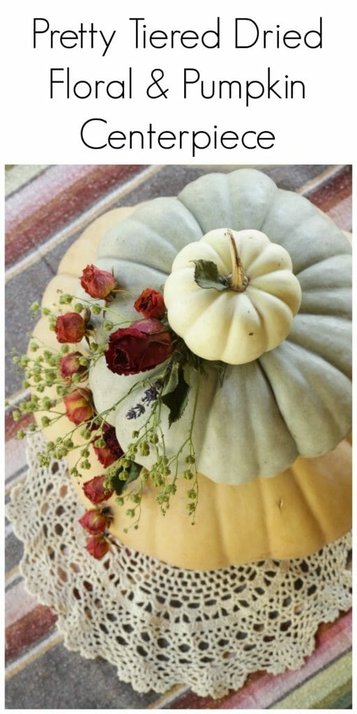Pretty Tiered Dried Floral Pumpkin Centerpiece- Perfect for a Fall Wedding!