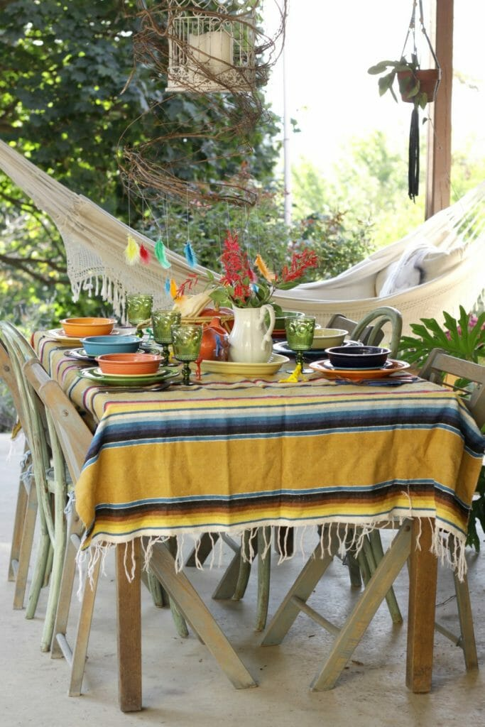 Colorful Kids Thanksgiving Porch Table