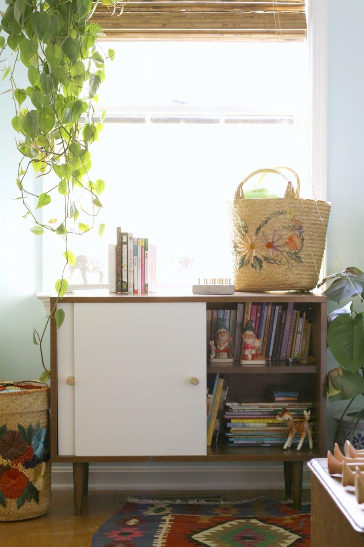 Quick Midcentury Bookcase Makeover Replacing Sliding Doors Cassie