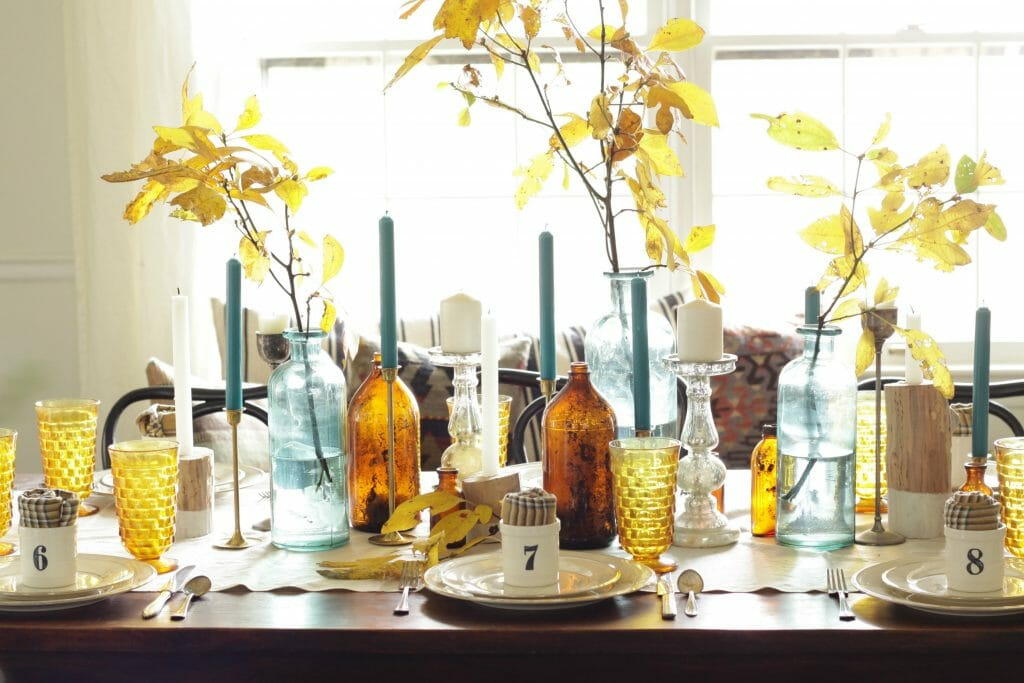 Amber and Aqua Thanksgiving Table- Mixed Styles, with leaves