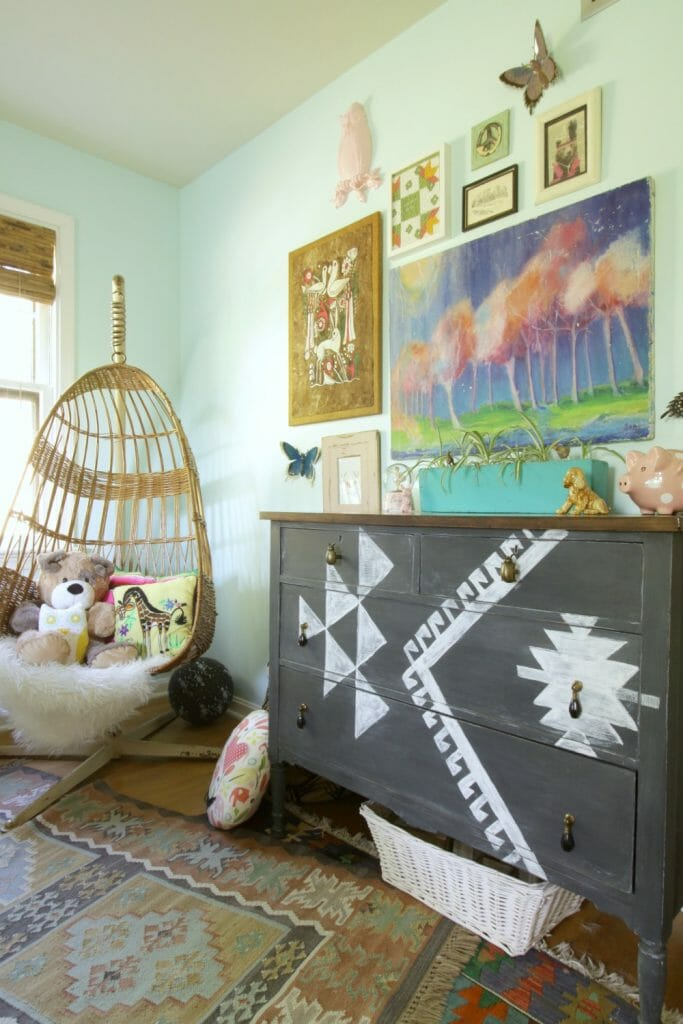 Gallery Wall in Girls Room- Eclectic Mix