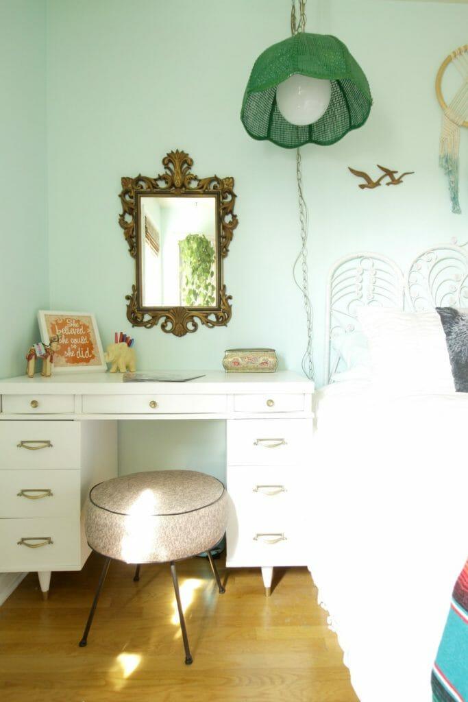 Vintage Midcentury Glam Desk in Boho Space