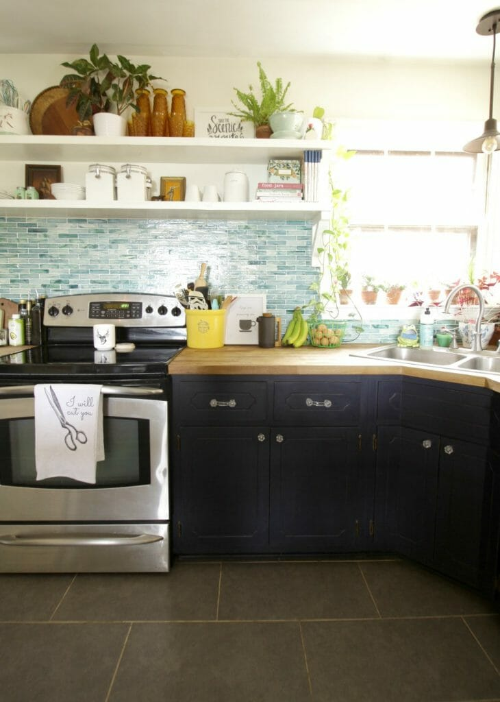 Farmhouse Style Kitchen with Open Shelving- Navy and Aqua, White and Amber