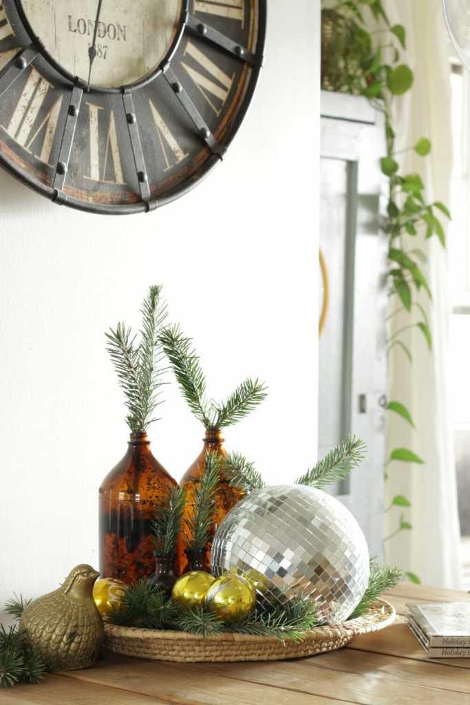 Amber glass, gold ornaments, greenery,disco ball