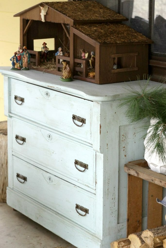 Vintage Light Blue Dresser on Porch