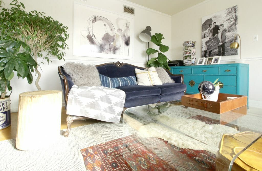 Eclectic Living Room with Navy, and Turquoise