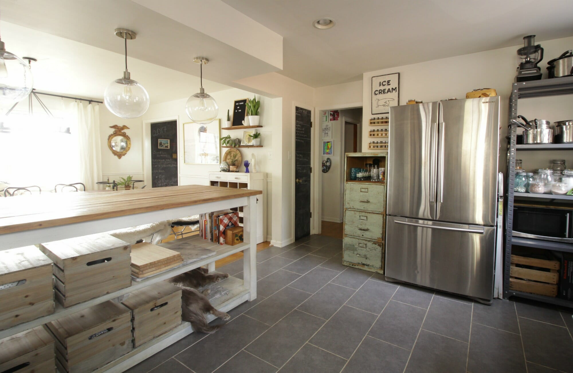 Good Eclectic Kitchen with Awesome Huge Island