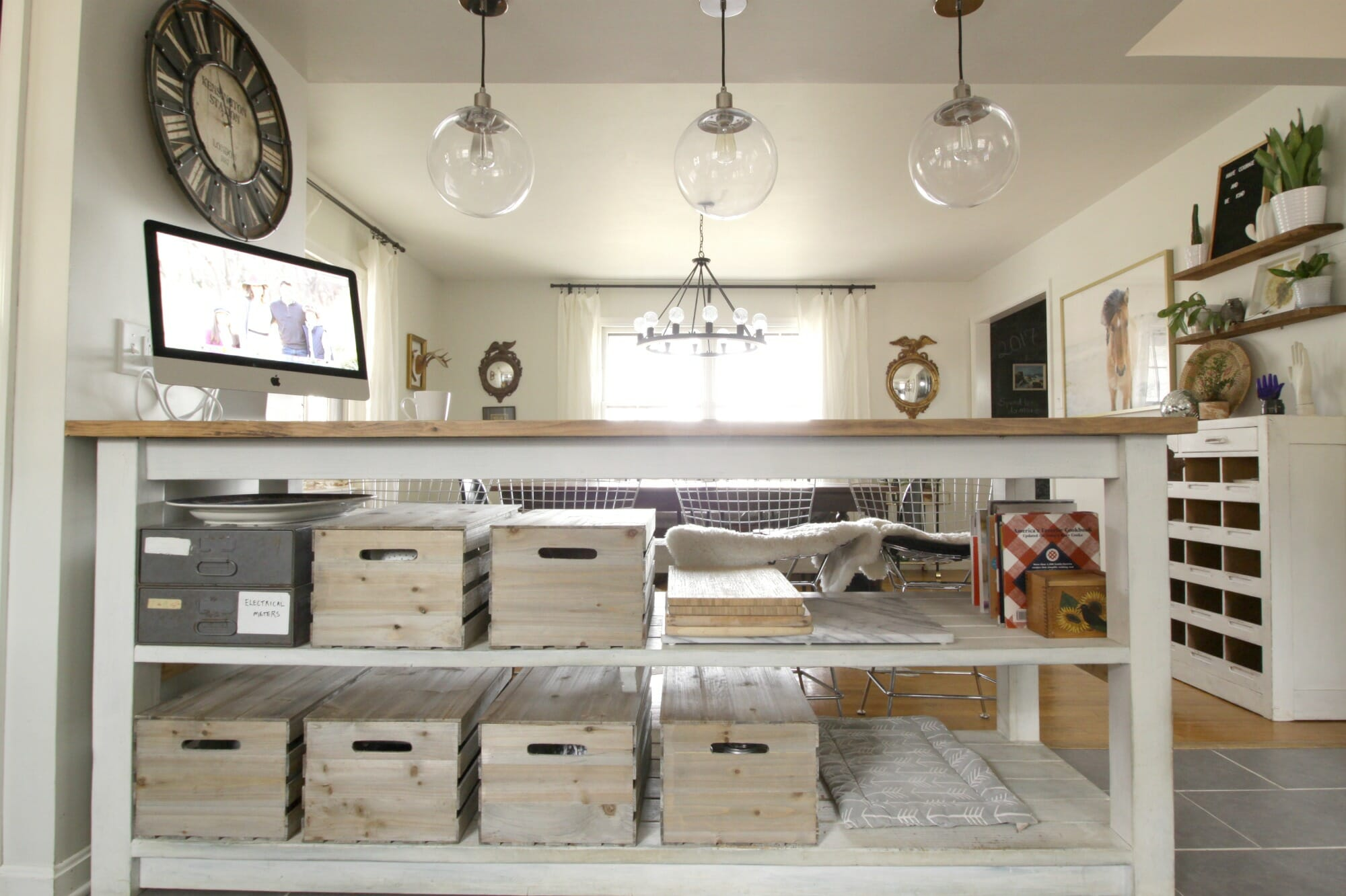 Industrial Kitchen Island With Storage From Crates Pallets Cassie Bustamante