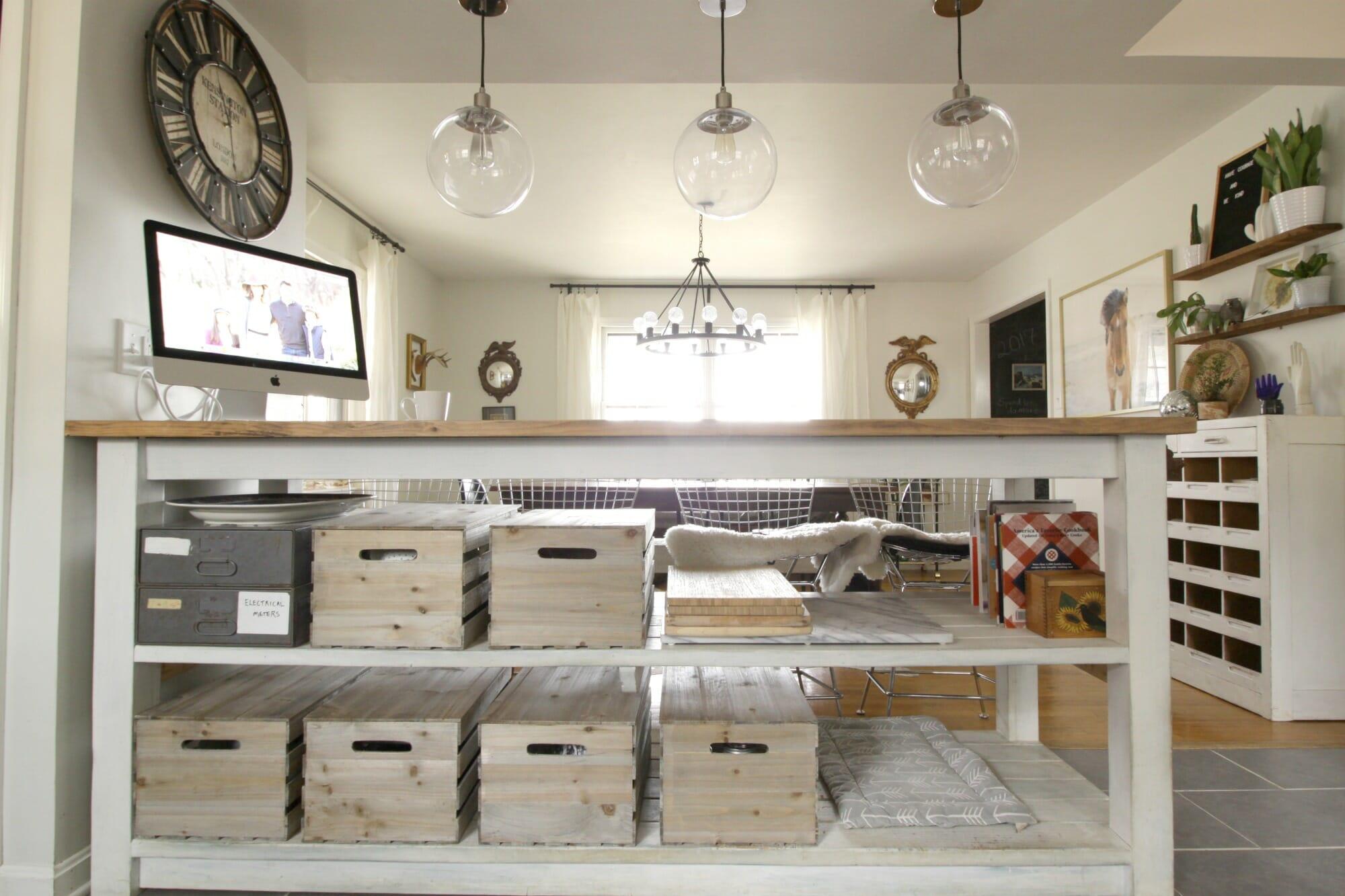 Kitchen Island with Crates Storage Solutions Cassie Bustamante