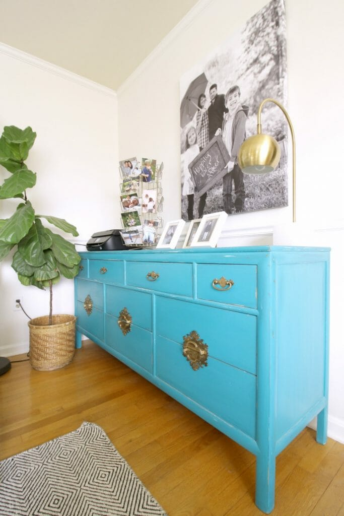 Dresser as storage in Living Room