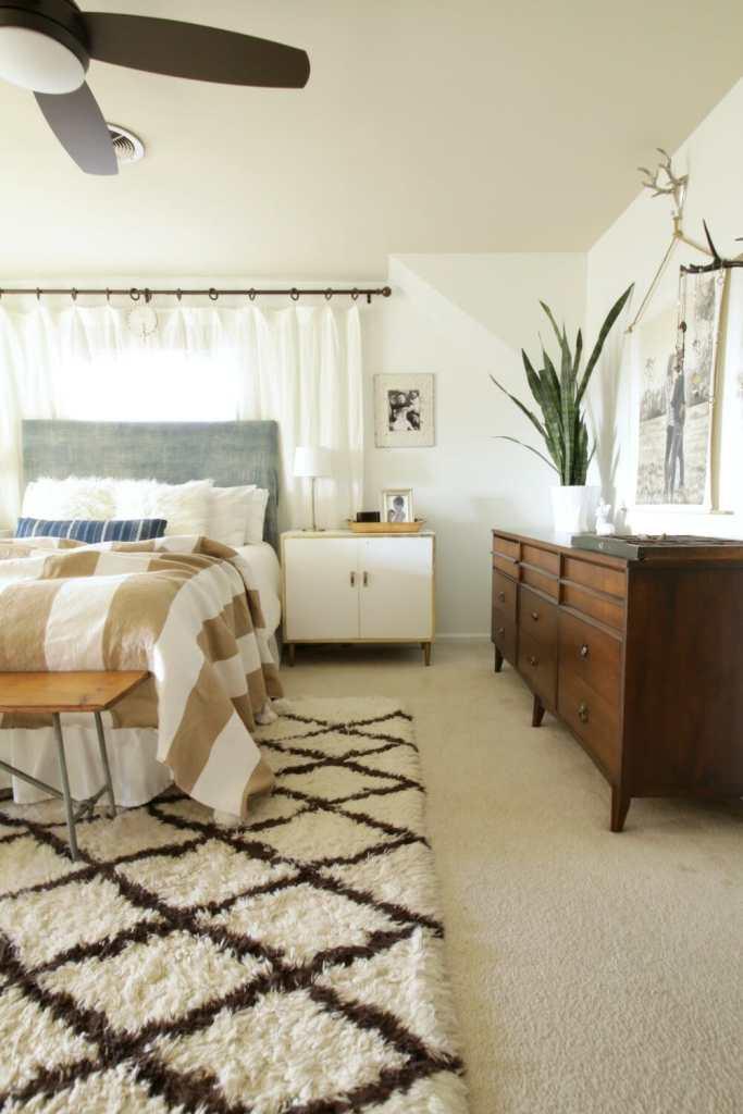 Modern Boho Bedroom With Indigo Mudcloth Headboard