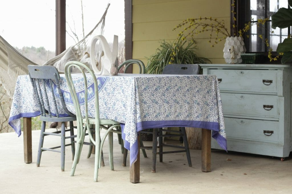 Bohemian Porch Dining in Blue and Green