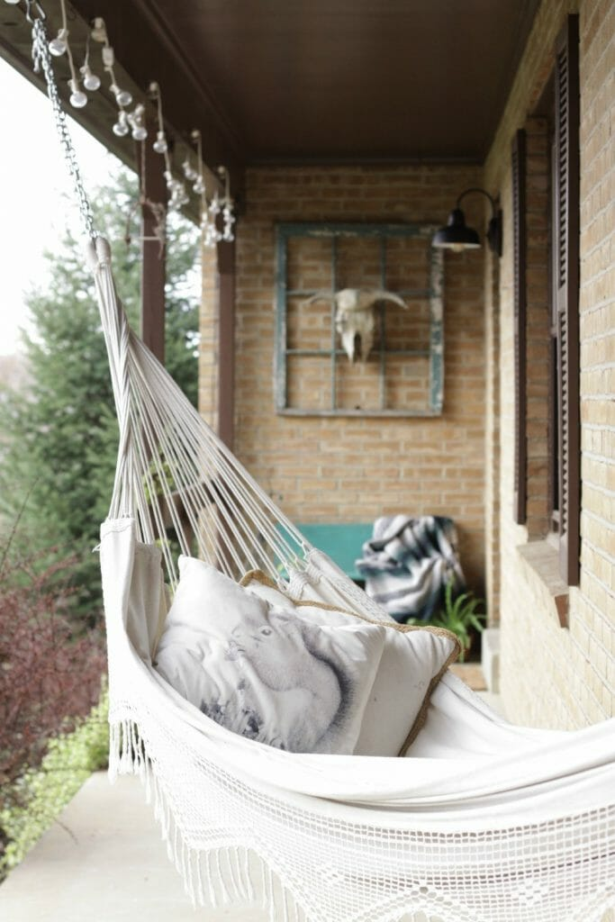 Fringed Bohemian Hammock on Porch