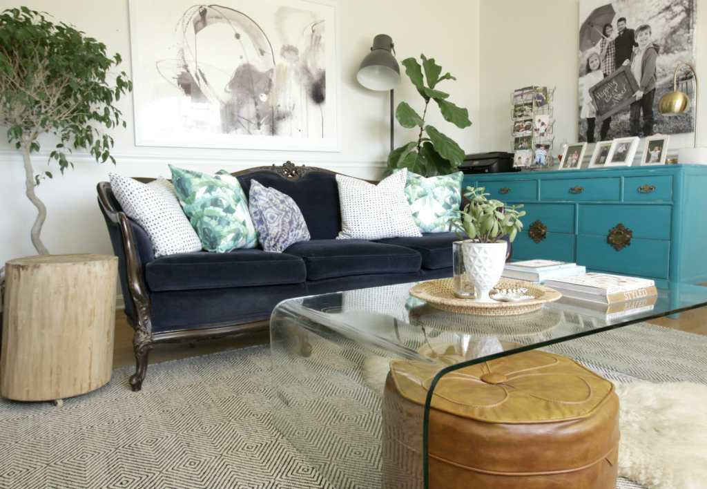 Modern Vintage Eclectic Living Room in Blue and Green
