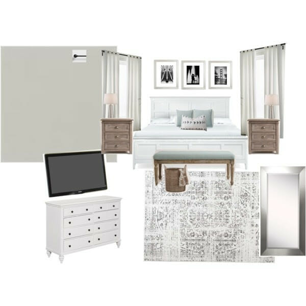 Gray and White Serene Bedroom Plan