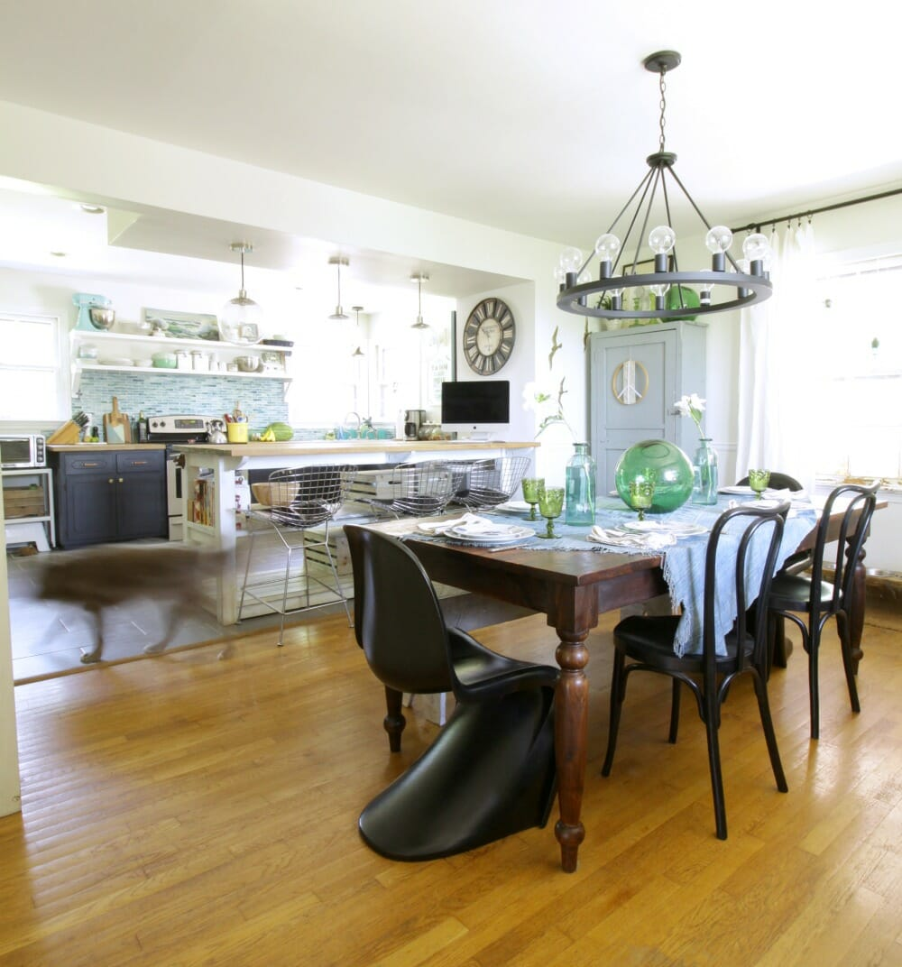 Eclectic modern coastal dining room kitchen blues greens cassie eclectic dining room and kitchen dzzzfo