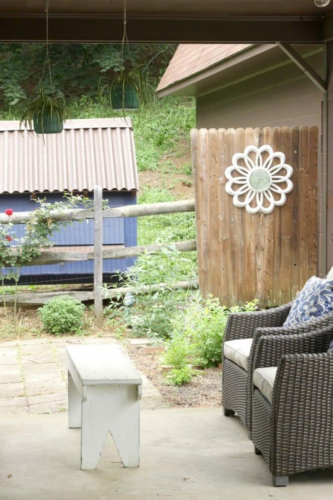 Midcentury clock as garden decor