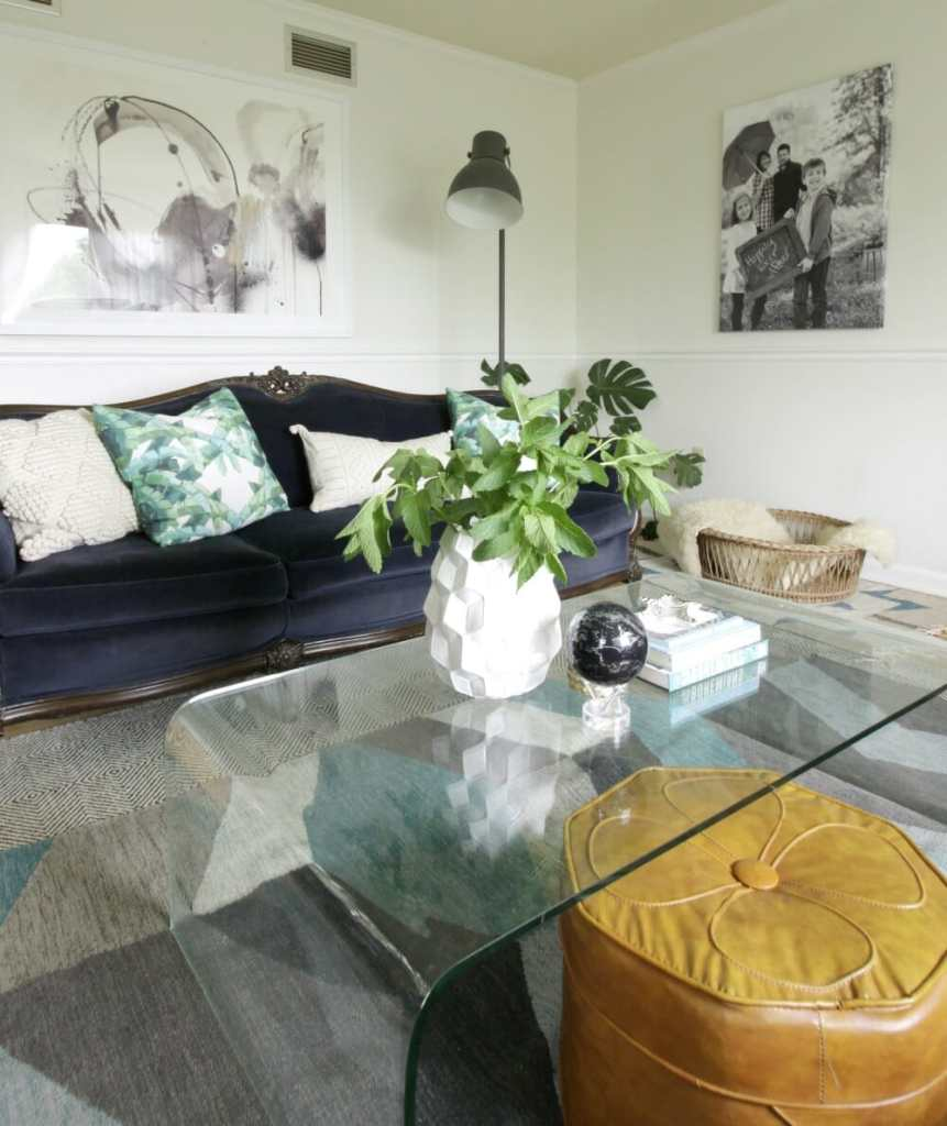 Modern Boho Gray and Blue Living Room