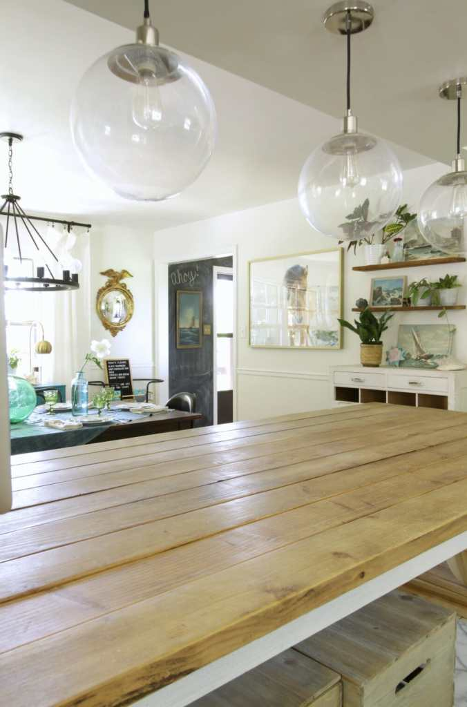 Rustic Wood and White Kitchen and Dining Room