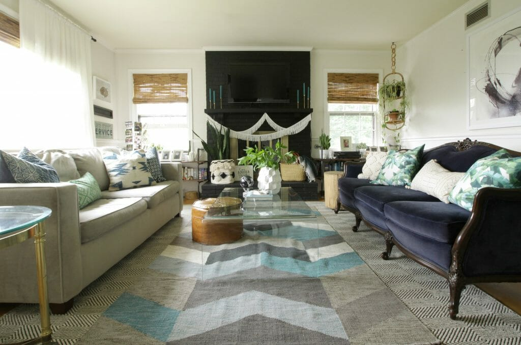 Modern Boho Summer Living Room in Blues and Greens