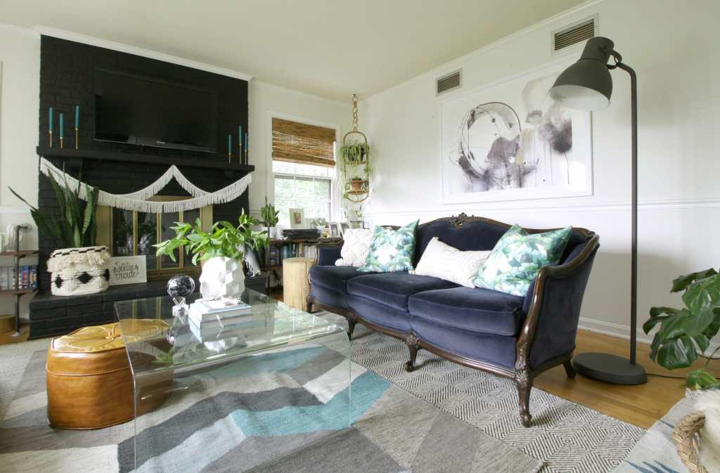 Navy Vintage Velvet Sofa in Eclectic Summer Living Room