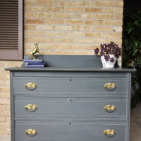 Furniture Makeover: Charcoal Gray & Gold Rustic Farmhouse St